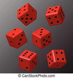Red Dice with Black Points