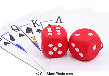 red dices and cards, concept of gambling