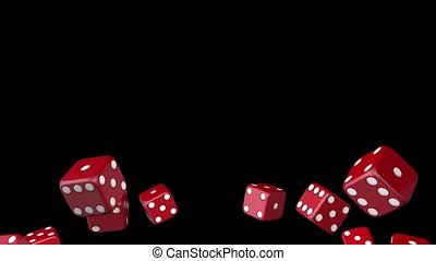 Red dices falling on a black background