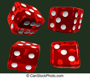 red dices isolated green