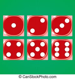 Red dices on a green background Vector