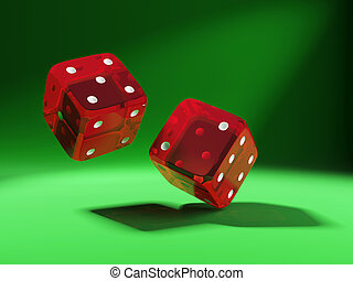 red dices on green background