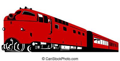 Red diesel train - Illustration on rail transport