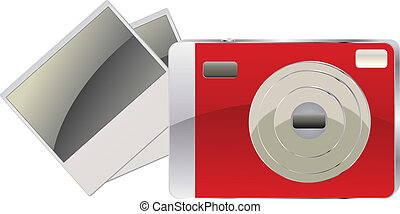 Red digital camera and photo cards