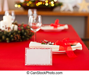 Red dinner table setup