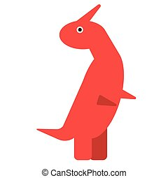 Red dinosaur flat illustration on white