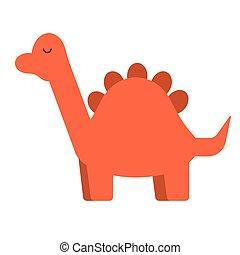 Red dinosaur flat illustration on white