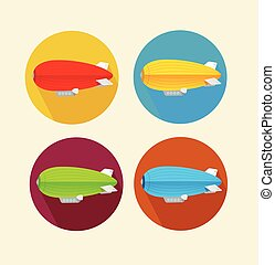 Red dirigible balloon flat icon set.Vector