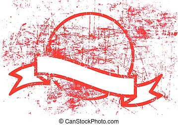 red dirty circle grunge rubber stamp and ribbon with copyspace in the middle isolated on white background