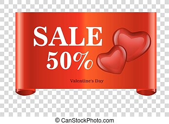 red discount 50 percent off and sale on red ribbon. Vector