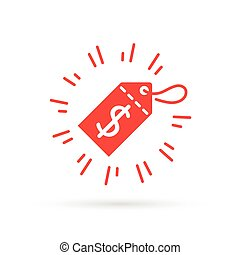 Red discount label icon with dollar price symbol sale tag.