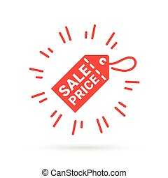 Red discount label icon with Sale Price symbol tag.