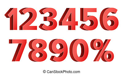 Red Discount Numbers Set . Figures From 0 to 9. Sign Of Percent. Isolated Illustration