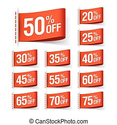 Red discount sale labels