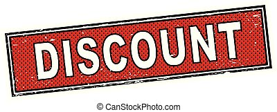 red discount stamp square grunge sign