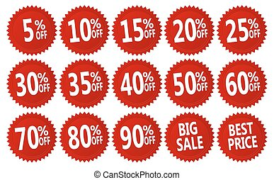 discount stickers - red discount stickers set. vector ...