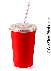 Red disposable cup for beverages with straw. Isolated on a white.