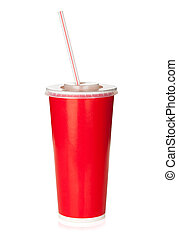 Red disposable cup with drinking straw. Isolated on white...