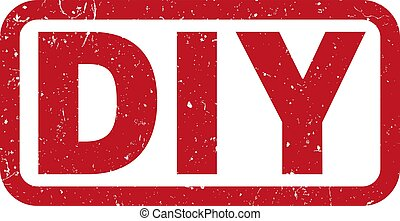 red DIY do it yourself rubber stamp print vector...