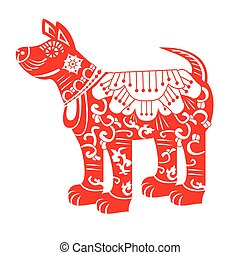 Red Dog. Chinese New Year Zodiac Symbol 2018.