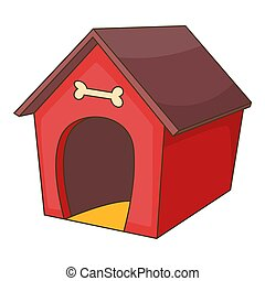 Red dog house icon, cartoon style - Red dog house icon....