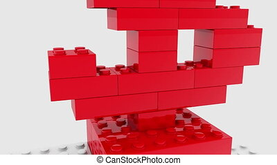 Red dollar sign built from toy bricks
