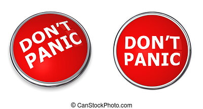 Red Don\'t Panic Button - red rendered 3d button with white...