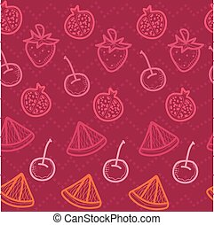 Red Doodle seamless background with  fruits