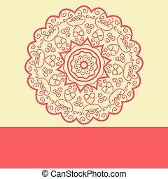 Red Doodle Symmetry Mandala Design