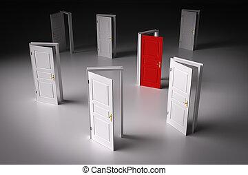 Red door among other white ones. Decision making - Red door...