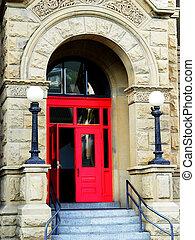 Red door - An open red door