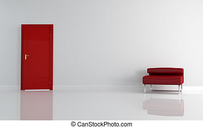 red door and modern armchair - empty living room with red...