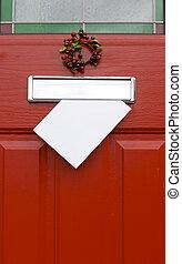 Red door, Christmas post.