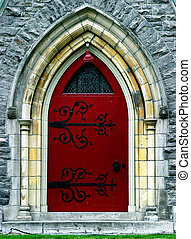 Red door - Entrance to the church in downtown montreal