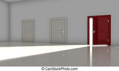 Red door in dark room