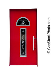 Red door isolated on white background.