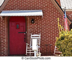 Red Door on American Brick Cottage