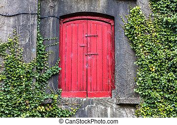 red door on wall