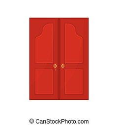 Red door on white background. Vector illustration.