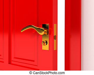 Red door over white background
