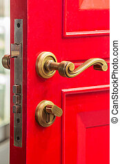 Red door with bolt - Red color wooden door with brass bolt