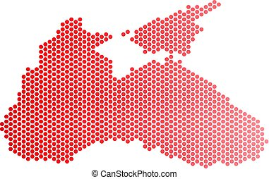 Red Dot Black Sea Map - Red round spot Black Sea map....