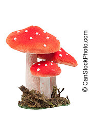 red dotted decoration mushrooms isolated on a white...