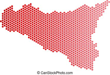 Red Dotted Sicilia Map - Red circle dot Sicilia map....