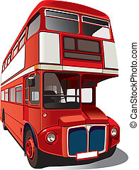 "Detailed vectorial image of symbol of London - best-known of England double-decker bus - ""Routemaster"", isolated on white background. Contains gradients and blends."