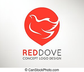 Red Dove icon Peace Concept Logo - Red Dove Peace Concept...