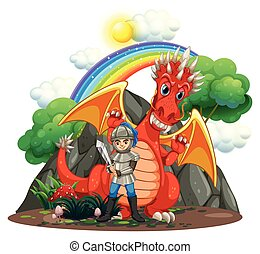 Red dragon and knight with sword
