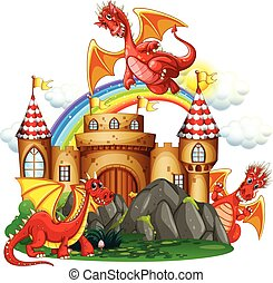 Red dragon at the castle