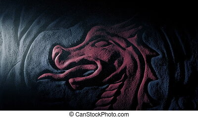 Red Dragon Carving Lit Up In Dusty Tomb - Bright light...