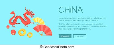 Red Dragon Chinese Symbol and Fans Web Banner - Red dragon...